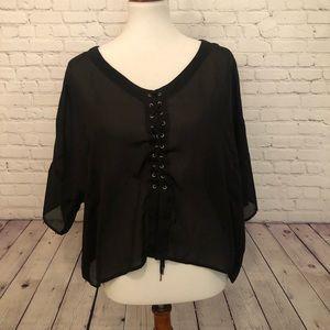 RVCA black tied shirt